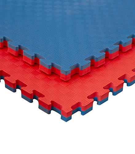 JOWY Estructura Tatami Puzzle para Gimnasio Artes Marciales Judo | Tatami Profesional 25mm Color Rojo y Azul Reversible Acabado 5 Líneas