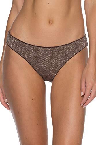 Becca by Rebecca Virtue Women's Adela Metallic Hipster Bikini Bottom Bronze XS