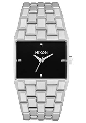 NIXON Ticket A1262 - シルバー/ブラック - 50メートル/5気圧 防水 メンズ アナログ ファッションウォッチ (34mm 時計面 30mm-23mm ステンレススチールバンド)