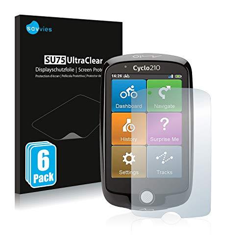 Savvies 6X Schutzfolie kompatibel mit Mio Cyclo 210 Bildschirmschutz-Folie Ultra-transparent
