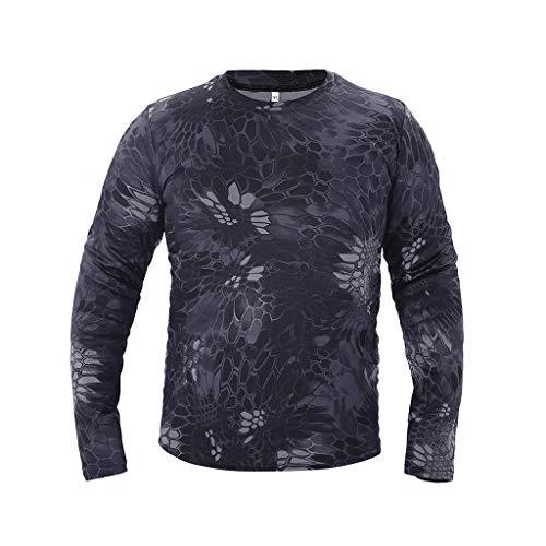 Yowablo T-Shirt T Shirt Homme T-Shirts Homme Outdoor Camouflage à séchage Rapide Tops à Manches Longues Blouse (M,1Noir)