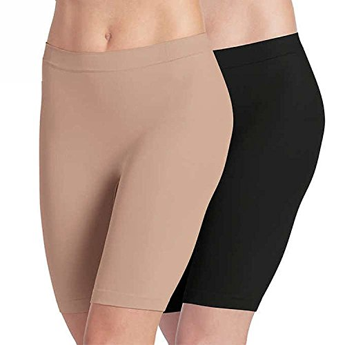 Jockey Ladies' Skimmies Slip Short Smooth Lightweight Mid-Length , 2 Pack (X-Large)Black - Light Nude