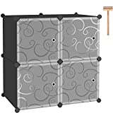 C&AHOME Cube Storage with Doors, 4-Cube Storage Organizer, Plastic Closet Cabinet, Modular Book Shelving Units, Storage Shelves, Ideal for Living Room, Home, Office, 24.8' L x 12.4' W x 24.8' H Black