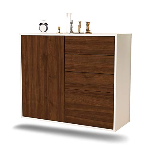 Dekati dressoir Tacoma hangend (92 x 77 x 35 cm) romp wit mat | front houten design | Push-to-Open modern walnoot