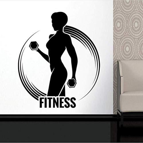 Wall Sticker Auto Palestra Nome Sticker Ragazza Manubri Decal Fitness Body-Building Poster Da Parete In Vinile Decalcomanie Decor Palestra Sticker 58X67Cm
