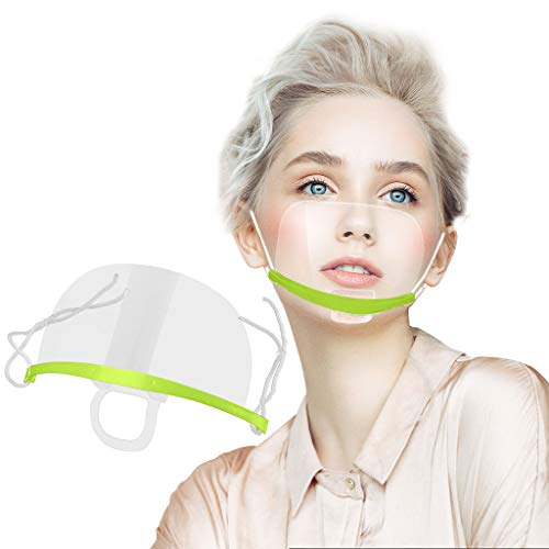 10 Stück Safety Gesichtsschutzschild Kunststoff Visier Gesichtsschutz Anti-Fog Anti-Öl Splash Transparent Schutzvisier - Essen Hygiene Spezielle Anti-Saliva Gesichtsschutzschirm (10 Stück, Grün)