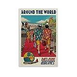 WEICHAO Around The World Poster Daft Punk Airlines Cartoon