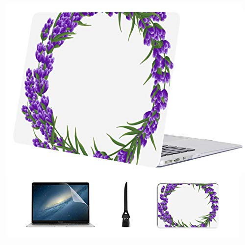 Macbook 11 Inch Case Charming Romantic Purple Lavender Plastic Hard Shell Compatible Mac Air 13' Pro 13'/16' 13 Inch Laptop Case Protective Cover For Macbook 2016-2020 Version