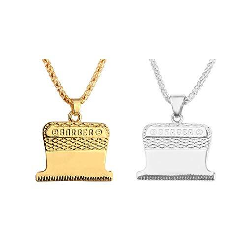 Hinleise Halskette mit Paar-Anhänger in Rasierer-Form, für Damen und Herren, Schmuck, für Paare, Choker, Geschenk für Liebhaber, Schmuck – Gold und Silber – 1 Set