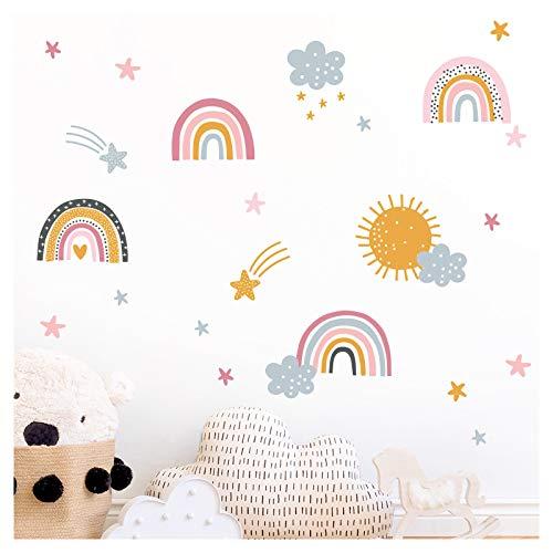 Little Deco Wandtattoo Regenbögen mit Sternen Wolken & Sonne I 107 x 92 cm (BxH) I Wandaufkleber Sticker Mädchen Wandsticker Kinderzimmer Deko Aufkleber DL484