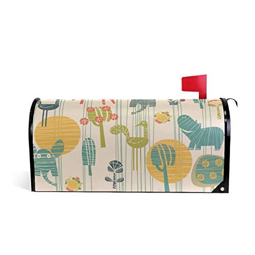 prz0vprz0v Giraffe Olifant Hippo Vogel Bloem Magnetische Mailbox Cover Home Tuin Decoraties Standaard Grootte 21 x 18 Inch Waterdichte Canvas Mailbox Coveres