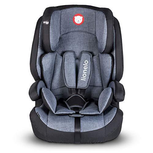 Lionelo Nico Kindersitz 9-36kg Kindersitz Auto Gruppe 1 2 3 Seitenschutz 5-Punkt Sicherheitsgurt abnehmbare Rückenlehne regulierbare Kopfstütze ECE R44 04 (Schwarz)