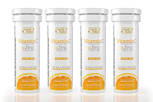 Signify Nature Vitamin C 1000mg – Immunity Booster Vitamin C with Zinc, Sugar Free Effervescent Tablets, Antioxidant, Immune Support - 40 Tablets for 40 Days Supply
