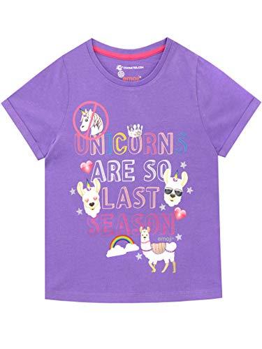 Emoji Camiseta de Manga Corta para niñas Llama Morado 12-13Años