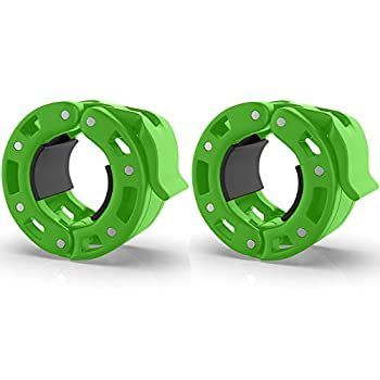 Barbell Collars  Pair  – Locking 2  Olympic Size Weight Clamps - Quick Release Collar Clips – Bar Clamps Great for Weight Lifting Olympic Lifts and Strength Training  Green V2