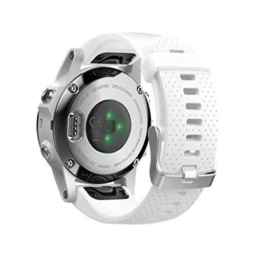 NotoCity Compatible Fenix 5S Watch Band Easy Fit Soft Silicone 20mm Replacement Watch Strap for Fenix 5S / 5S Plus/Fenix 6S/Fenix 6S Pro/D2 Delta S Smartwatch(Silver Buckle-White)