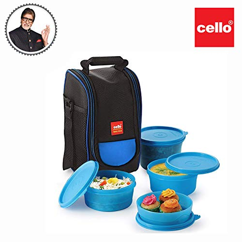 Cello Max Fresh Super Polypropylene Lunch Box Set, 225ml, 4-Pieces, Blue