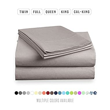 Luxe Bedding Sets - Microfiber Twin Sheet Set 3 Piece Bed Sheets, Deep Pocket Fitted Sheet, Flat Sheet, Pillow Case Twin Size - Gray