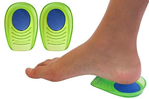 Gel + Memory Foam Shock Absorbing Heel Cups for Kid's with Sensitive Heels, Heel Spurs, Plantar Fasciitis, or Ankle Pain (Kid's Size 3-7) 2 Pairs, 4 Single Heelcups (Kids Size 3-7)