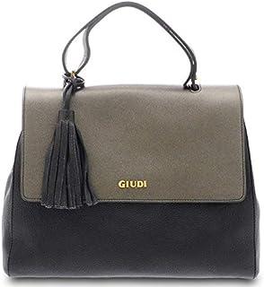 GIUDI ® - Borsa Donna in pelle vitello e saffiano, vera pelle, borsa a mano,Made in Italy. (Nero/Antracite metal)