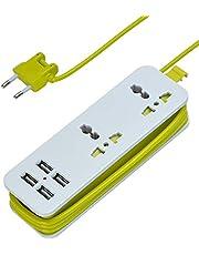Multificional Regleta Enchufes Proteccion Sobretension,2 Tomas Corrientes y 4 USB Tomas Alargadora Cable de 1,5m,Adaptador U niversal para Viajes/Hogar/Oficina (Verde)