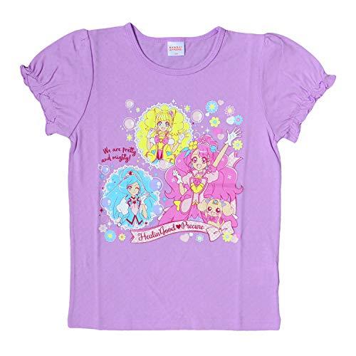 半袖Tシャツ ヒーリングっどプリキュア 女の子 キッズ パフスリーブ パープル 110