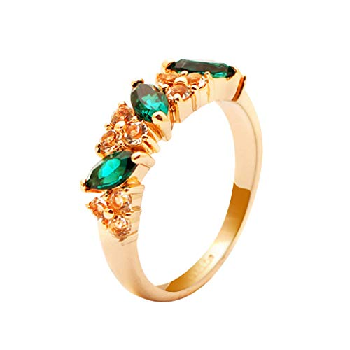 Moent Women Rings Rose Gold Diamond Ring Natural White Romantic Wedding Jewelry,Wedding Anniversary Birthday Jewelry Gifts for Her Wife Girlfriend(Gold-One Size)