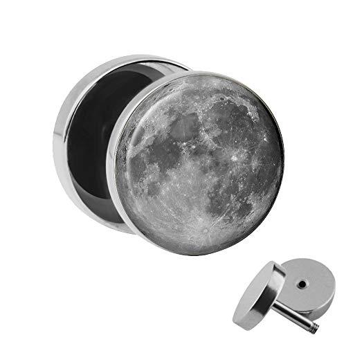 Treuheld | Ohrstecker zum Schrauben - MOND - schwarz-grau - Motiv Fake-Plug Ø 10mm Silber - Edel-Stahl Ohr-Ringe - Chirurgen-Stahl 316L Fake-Tunnel - Gewinde Ohr-Stecker - Moon