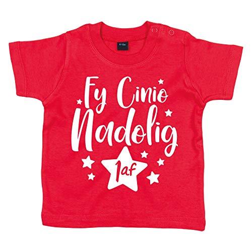 Crwban - Camiseta de Manga Corta para bebé con Texto en inglés Welsh My First Christmas Dinner/Fy Cinio Nadolig Cyntaf (10% Donated to Tj Hafan Children's Hospice) Rojo Rosso 18-24 Meses