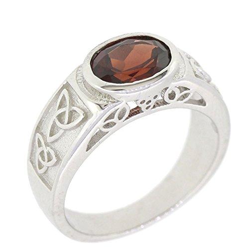 BL Jewelry Sterling Silver Natural Gemstone Amethyst Citrine Garnet Peridot Celtic Knot Ring (8, Garnet)