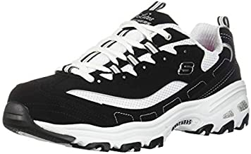 Skechers womens D'lites - Biggest Fan Fashion Sneaker, Black/White, 8.5 Wide US