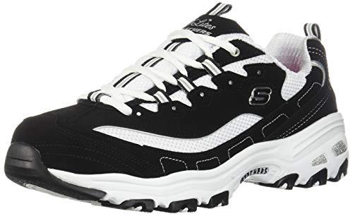 Skechers womens D'lites - Biggest Fan Fashion Sneaker, Black/White, 8.5 US