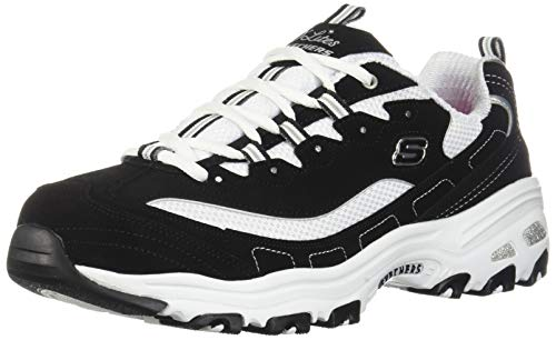 Skechers Sport womens D'lites Biggest Fan Memory Foam Lace-up Sneaker,Black/White,9 W US