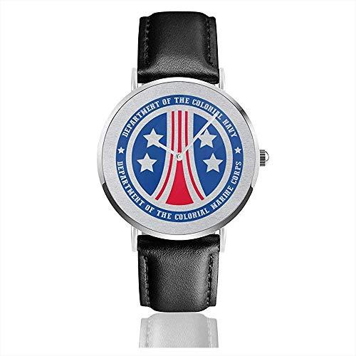 Unisex Business Casual Alien Kolonial Marine Corps Logo Uhren Quarz Leder Uhr
