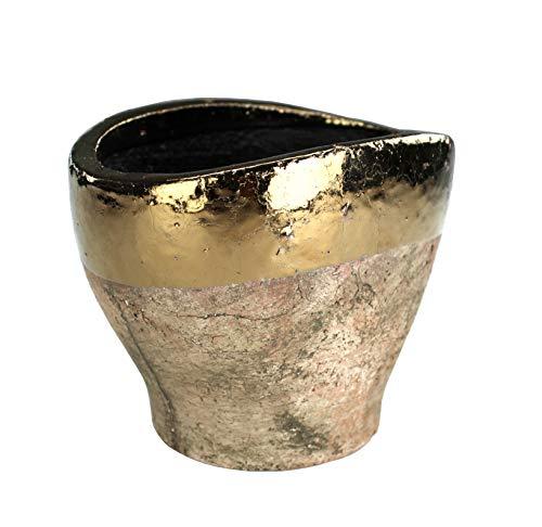 DARO DEKO Blumentopf oval XL aus Keramik - braun mit Goldrand
