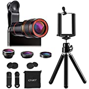 Criacr Phone Camera Lens, 12X Zoom Lens, Fisheye Lens, Macro Lens and Wide Angle (Attached Together), Phone Holder, Tripod, 3 in 1 Smartphone Cell Phone Telephoto Lens for iPhone, Samsung