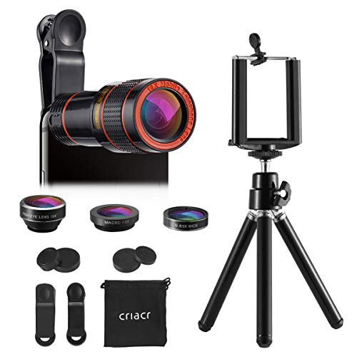 Criacr 3 in 1 Cell Phone Camera Lens Kit, 12X Zoom Telephoto Lens + Fisheye + 15X Macro Lens & 0.63X Wide Angle (attached together) + Phone Holder + Tripod Camera Lens for iPhone, Samsung & Smartphone