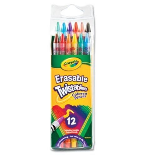 Crayola Erasable Twistables Colored Pencil, 12 per Pack - 24 Packs per case