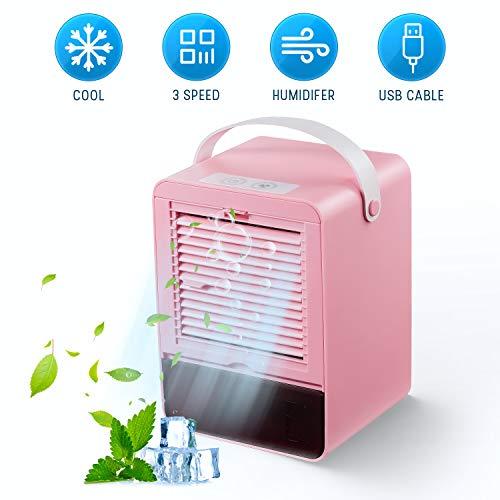 Air Cooler Portatile Mini Condizionatore Umidificatore Silenzioso per Refrigeratore D\'aria con 3 Velocità per Home Office (Rosa)