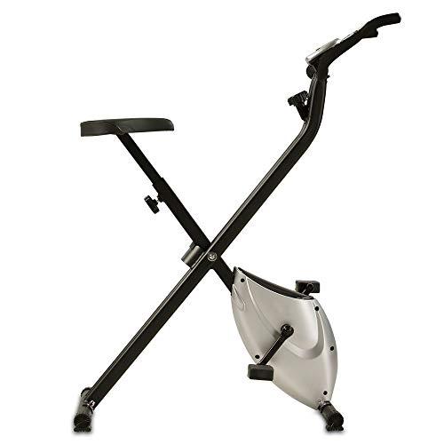 maxVitalis Heimtrainer X-Bike Fitnessbike F-Bike Fitnessgerät faltbar Handpulsmessung 2,5 kg Schwungmasse mit Magnetbremssystem (Silber/Schwarz)