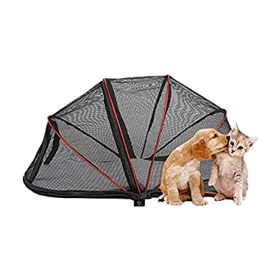 Hillwest Dog Houses Dog Tent, Foldable Portable Outdoor Camping Domed Dog House, Comfortable Shelter Travel Pet Dog Bed, Perfect Design for Your Dog Cat Rabbit (Black, Clear Mesh)