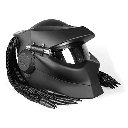 Casco de Motocicleta clásico Retro Negro Casco de Motocicleta de Fibra de Carbono Cascos integrales Gray XL