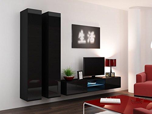 Wohnwand ' Vigo Glass III ' Glasvitrine Hängend Hochglanz Matt , Farbe:schwarz matt / schwarz Hochglanz
