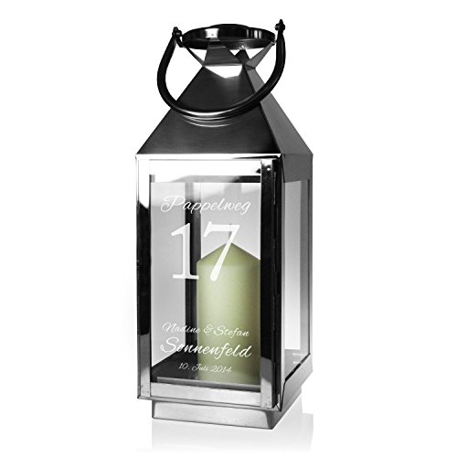 Casa Vivente Edelstahl-Laterne mit Gravur, Personalisiert mit Namen, Datum, Straße und Hausnummer, Dekoration, Windlicht als Hochzeitsgeschenk
