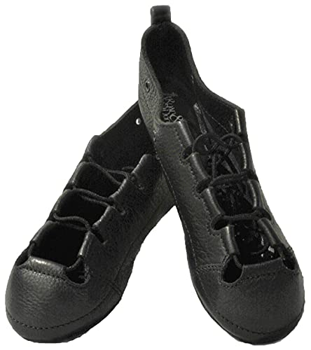 Irish Dance Pumps Soft Shoes, Full Handmade Genuine Leather Upper and Suede Split Sole, Featuring Shock Absorbing Insole,- Free Cotton Shoe Bag – (Size 5.5) Black