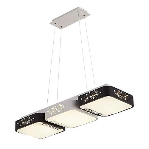 Luckylamp LED 3 Fuentes de luz Lámpara Colgante de Techo Cuadrado Diseño Hueco Diseño Tricolor Araña de Aluminio para el Dormitorio Sala de Estar Comedor Cocina [Clase de energía A ++]