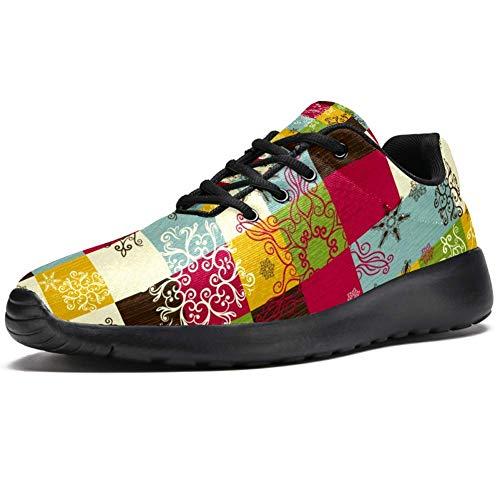 TIZORAX Zapatillas de correr para hombre, diseño de flores en cuadros