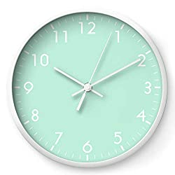 Mint Green Pastel Solid Color Block by Beautiful Homes on Wall Clock - White - White