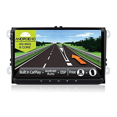 JOYX Android 10 Autoradio Compatibile con VW Skoda Seat Golf Polo Passat - 4G+64G - Mit DSP Carplay Android Auto - 4LED Camera Canbus GRATUITI - BT5.0 DAB Volante 4G WiFi 360-Camera - 9 Pollici 2 Din