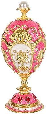 QIFU dipinto a mano smaltato uovo di Faberge stile decorativo incernierato gioielli Trinket box regalo unico per home decor